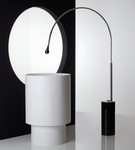 Gessi Goccia floor faucet white pedestal