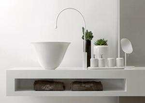 Gessi Goccia white vessel and white deck faucet